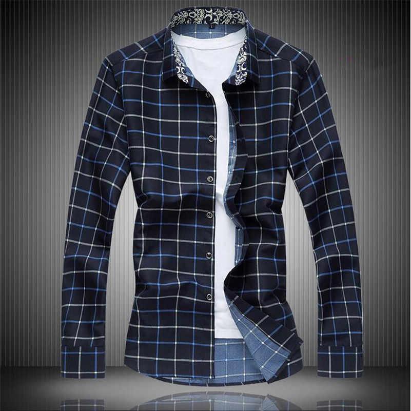 Spingメンズシャツチェックカジュアル長袖格子縞のシャツ秋冬プラスサイズ5xl 6xl 7xlビジネス社会男性のシャツx463