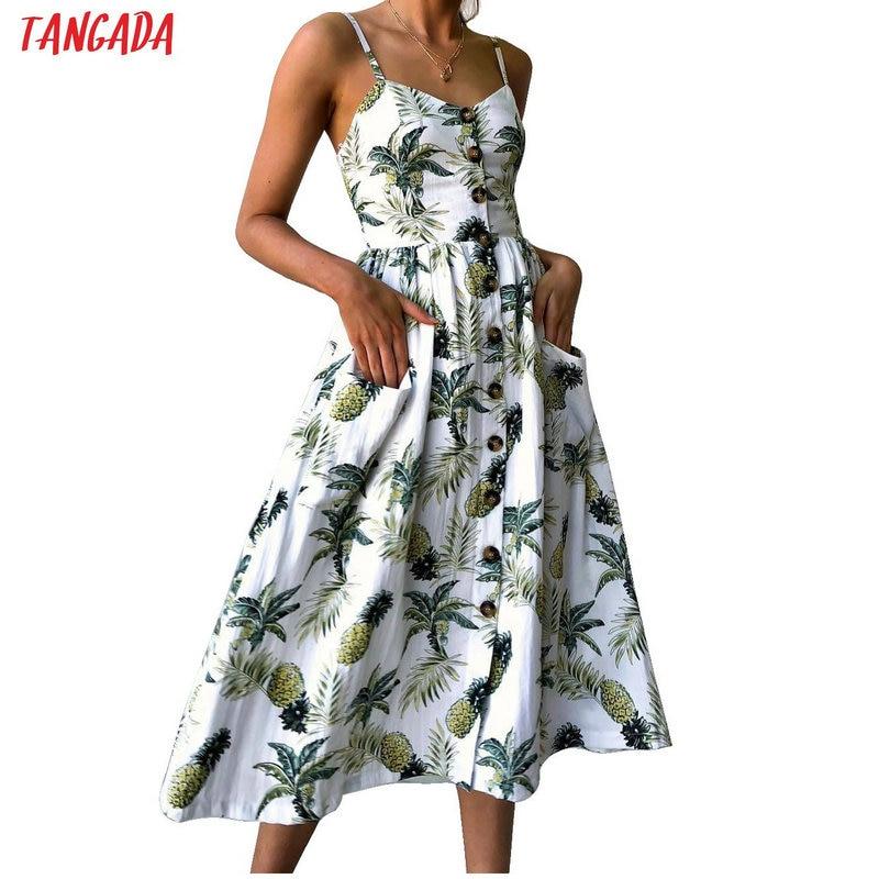 Tangada летний сарафан сарафан на лето сарафан на бретельках сарафан на пуговицах платье с принтом платье без рукавов сарафан с пышной юбкой романтичное платье летний сарафан миди платье миди Ali9