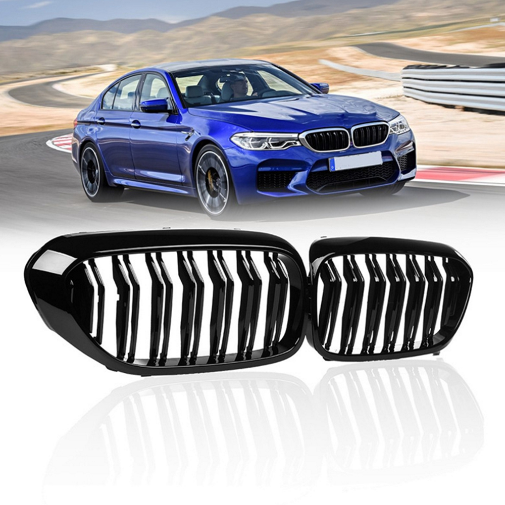 2pcs Glossy Black Dual Slat M5 Style Front Kidney Grille