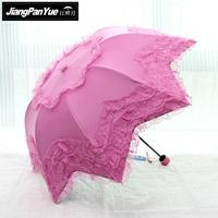 2016 New South Korean Princess Arched Umbrella Lace Black Plastic UV Sunscreen Sun Parasol
