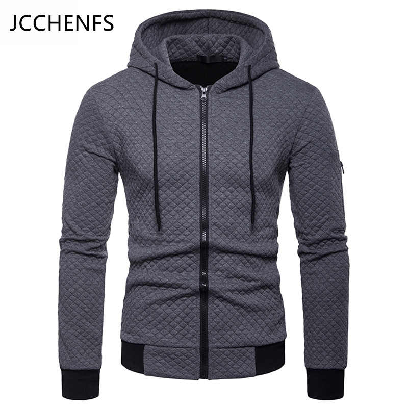 1123199f162 JCCHENFS 2018 Bomber Jacket Men Zipper Autumn Winter Outerwear Men s  Cardigan Hooded Jacket Sweatshirt Male Plaid