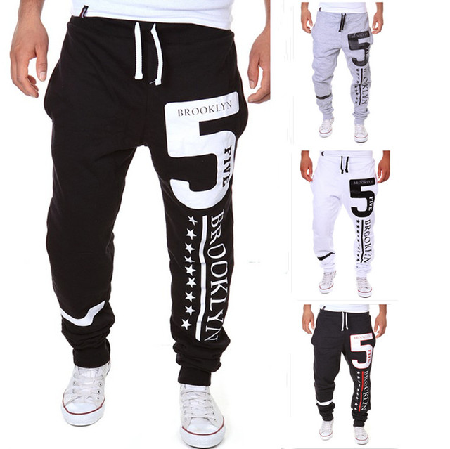 Mens Joggers Pantalones 2017 Marca Hombre Pantalones Cargo Delgado 5 de Impresión Pantalones Medias de Compresión Hombres Basculador XXL ZPQM
