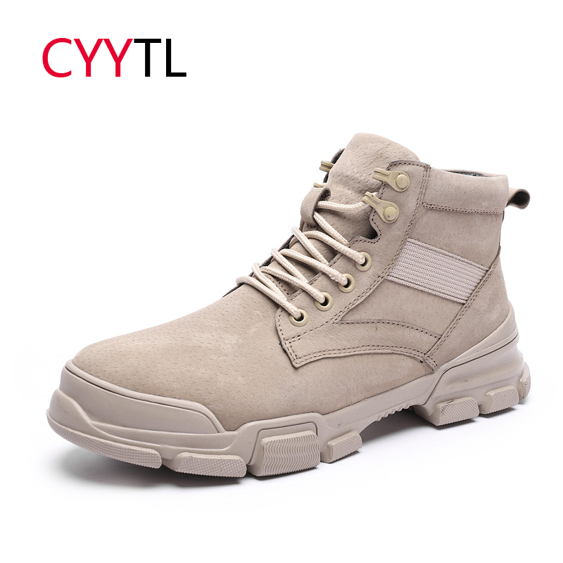 CYYTL Fashion Boots Men Winter Warm Erkek Bots Leather Male Shoes Work Safety Snow Botas Lace