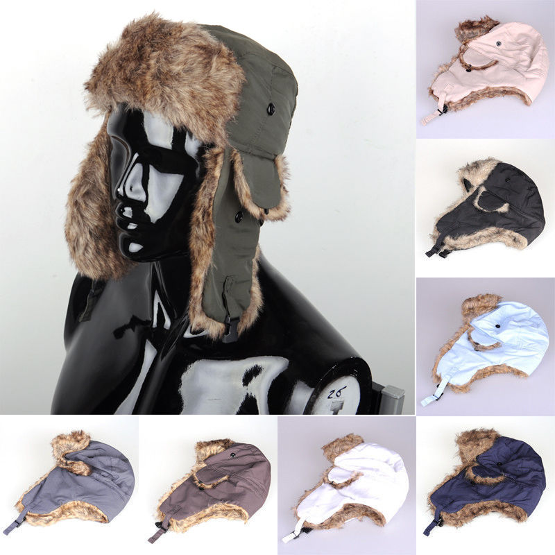 Cap Bomber-Hats Russian Trooper Trapper Winter Women Brand-New Ski-Hat Ear-Flaps Unisex