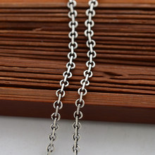 "Real Solid 925 Sterling Silver Jewelry Vintage Italian Round Rolo Lobster Clasp Cable Link Necklaces Fashion Chain Necklaces 16""(China)"