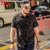 Big Size Summer 6XL Code Shirt XL Fat People Wear Black Cardigan 7XL Work Business Men