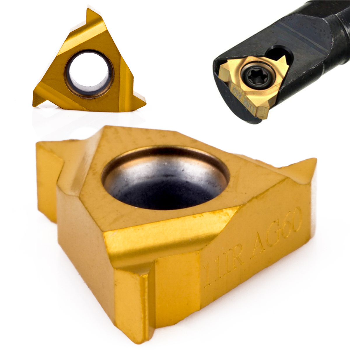 1pc 11IR AG60 Gold Carbide Insert Cemented Cutter For Lathe Threading Turing Tool Boring Bar