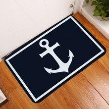 Dark Blue Bath Mat Fashion Mats Rugs White Anchor Non Slip Footpads Door Kitchen Floor Flannel Printed Home Decor