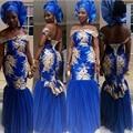 Vestido de Noite Estilo Aso Ebi Kaftans Abaya Dubai Vestido de Baile Caftan Royer Azul Apliques Vestido de Noite Formal Vestido Robe de sarau