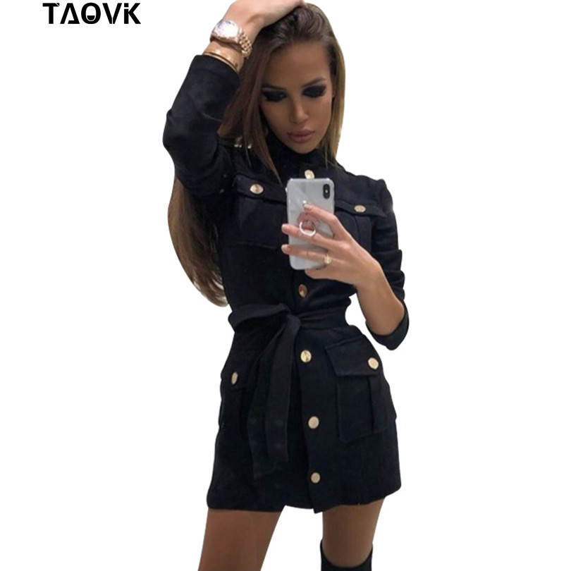 TAOVK Women's Dresses Single-breasted Design Stand Collar Pockets Black Short Dress With Belt OL Blouse