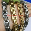 "7""-40"" Hot Sell Fashion Jewelry 12/15mm Cool 316L Stainless Steel Silver Gold Byzantine Chain Men's Necklace&Bracelet Bangle"