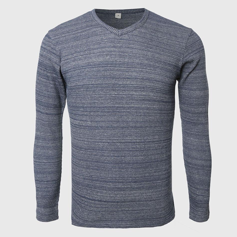 Men Waffle Long Sleeve T Shirts Plain V Neck Tee Shirts