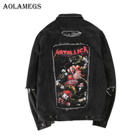 Aolamegs Men Denim Jacket Men S Metallica Hip Hop Cowboy Jackets Fashion Male Jacket Turn Down