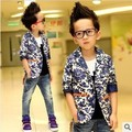New 2017 Autumn Printing Boys Blazer Suit Chinese Style Children Outwear Fashion Baby Boy Kids Clothes c15w18