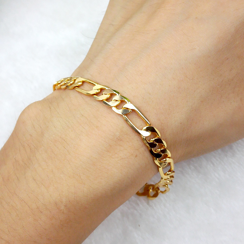 Thin Gold Chain Bracelet: Thin Figaro Bracelet Yellow Gold Filled Womens Mens