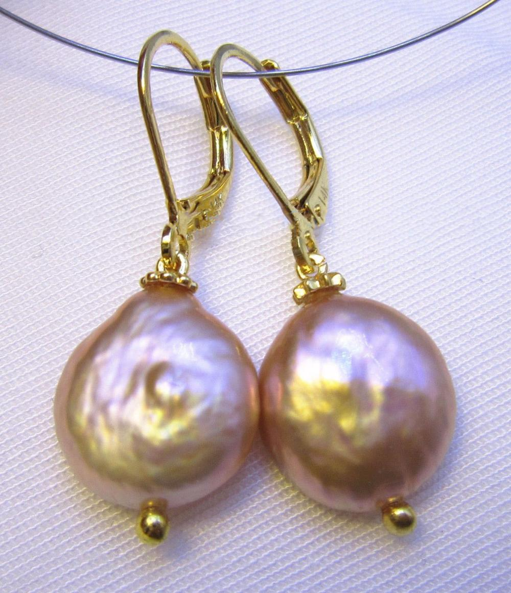 free shipping natura AAA Baroque 12X13 mm Pink Purple South Sea Pearl Earrings 14k/20 YELLOW GOLDfree shipping natura AAA Baroque 12X13 mm Pink Purple South Sea Pearl Earrings 14k/20 YELLOW GOLD