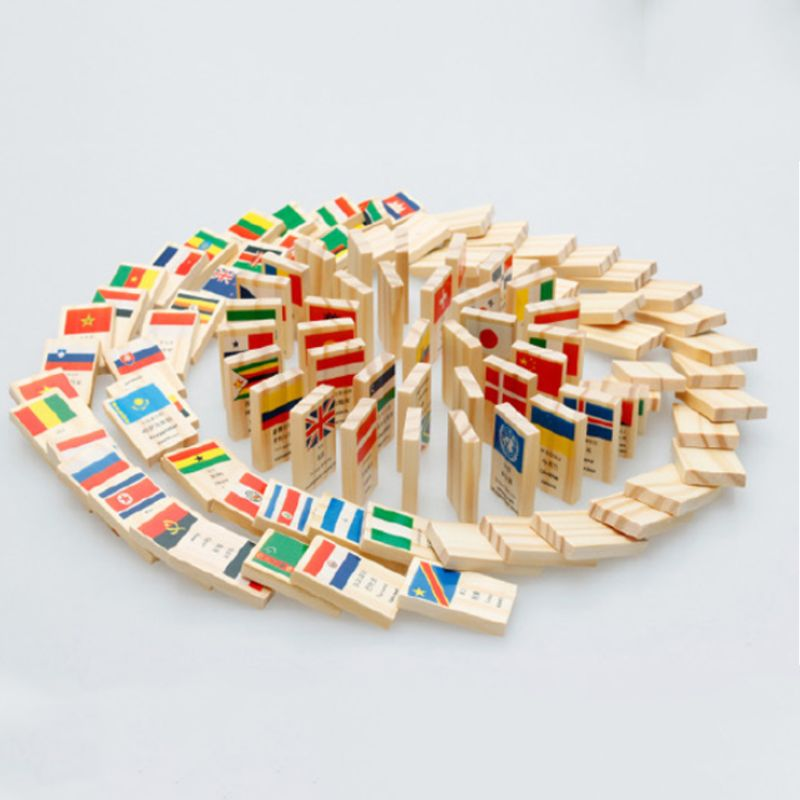 Home Diligent Wooden National Flag Domino Building Blocks Set Geography Early Educational Toys Kids Gift