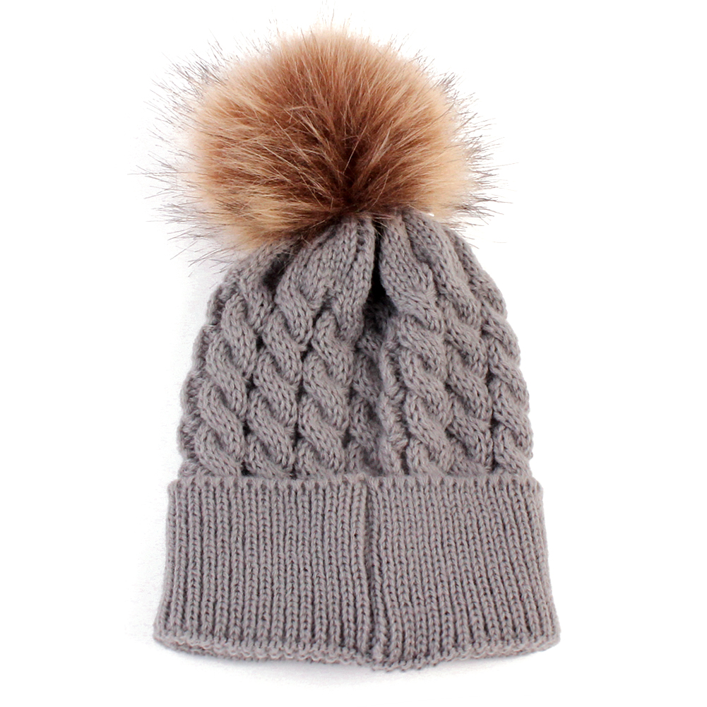 Baby Knitted Warm Hats Autumn Winter Crochet Woolen Hat Fur Pompons Kid Beanie Boy Girl Cute PomPom Tick Cap Bonnet Gorro 2017 yhkgg the girl s hat warm and comfortable in winter hats the ornament of a flower cute baby hat knitting hat