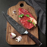 8 Inch Chef's Knife Stainless Steel Damascus Kitchen Knife with Ergonomic Handle Anti Rust and Durable for Kitchen Restaurant