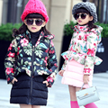 Girls in winter  2016 new cotton padded coat  Children in the long skirt  Small Floral Cotton  winter  Middle age children  Down