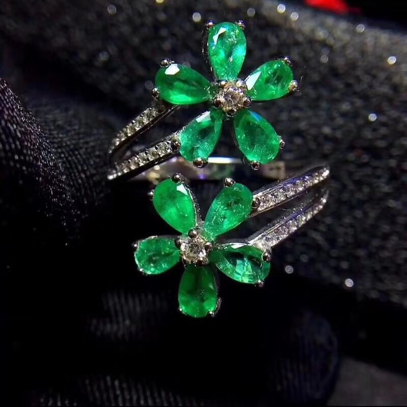 Uloveido Natural Emerald Ring 925 Sterling Silver 4 Clover Leaf Ring Exaggerated Style Beautiful Color 20