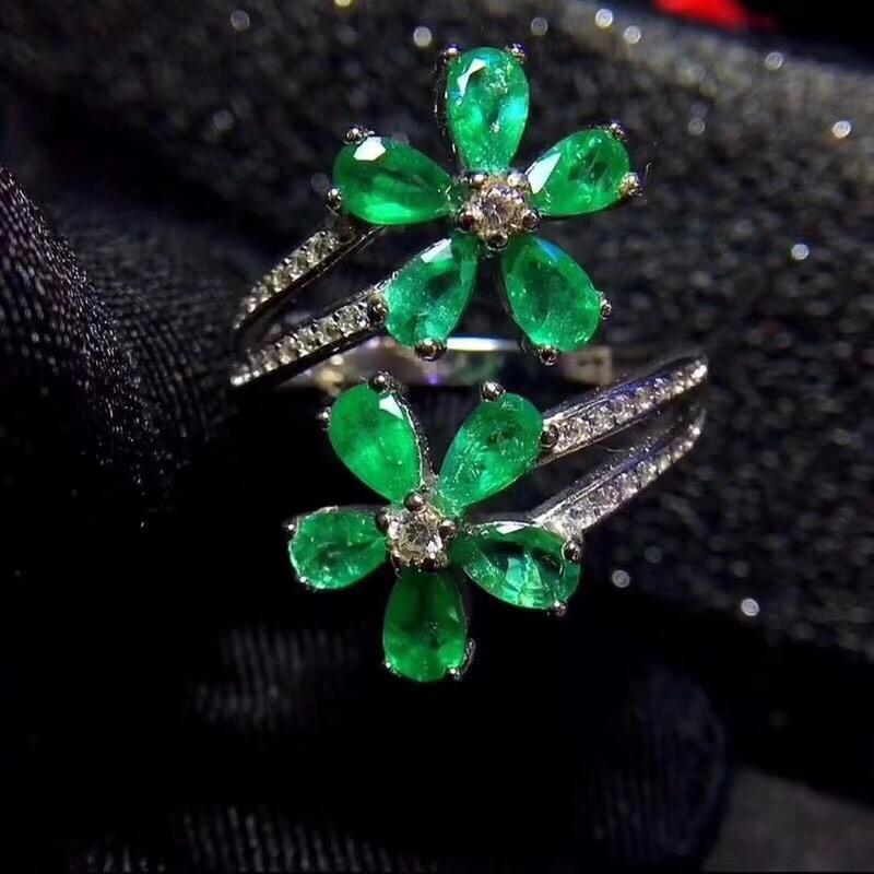 DemüTigen Uloveido Natürliche Smaragd Ring, 925 Sterling Silber, 4 Clover Leaf Ring, Übertrieben Stil, Schöne Farbe, 20% Fj385 AusgewäHltes Material