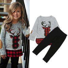 Children Clothing 2018 Autumn Winter Girls Clothes 2Pcs Christmas Outfit Kids Clothes Girls Sport Suit For Girls Clothing Sets cheap Regular O-Neck rorychen Pullover Full Polyester Cotton Coat CC01393 Print Fits true to size take your normal size Fashion