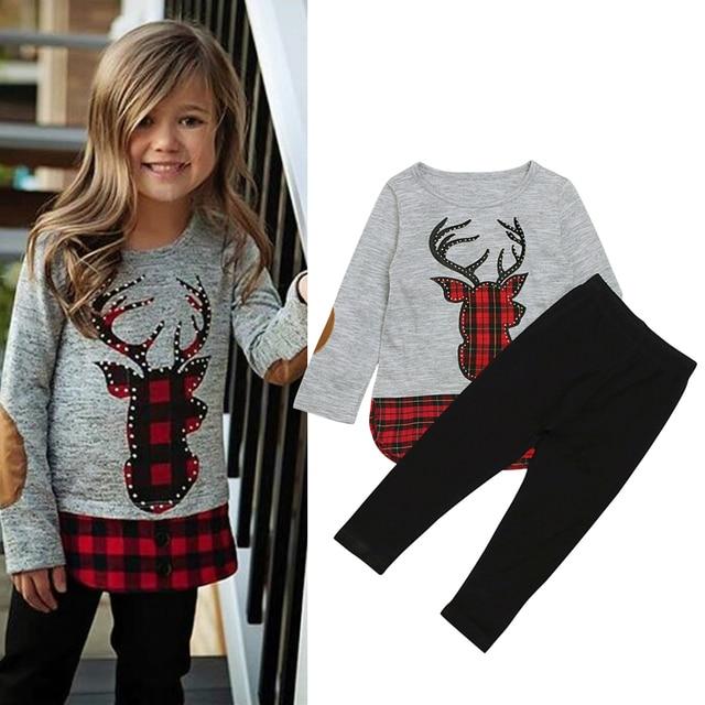 47a020933 Ropa para niños 2018 Otoño Invierno Niñas Ropa 2 piezas traje de Navidad  ropa para niños