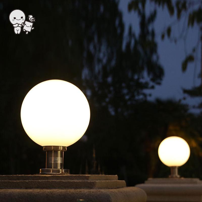 Outdoor 20/25/30/35/40cm White Stainless Steel Acrylic Ball Sphere Globe Landscape Lighting Fixture Waterproof Pole Lamp Garden