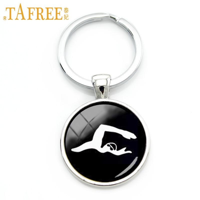 TAFREE 2017 newest casual jewelry swimming key chain charm minimalist swimming men art silhouette keychain sport team gift KC376