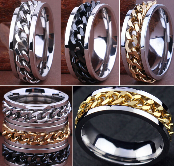 30pcs High Quality Comfort fit Men's SPIN Chain Stainless steel Spinner Rings Wholesale Jewelry Job Lots-in Rings from Jewelry & Accessories