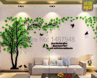 Buy hot sell couple tree 3d acrylic for 3d dining room wall art