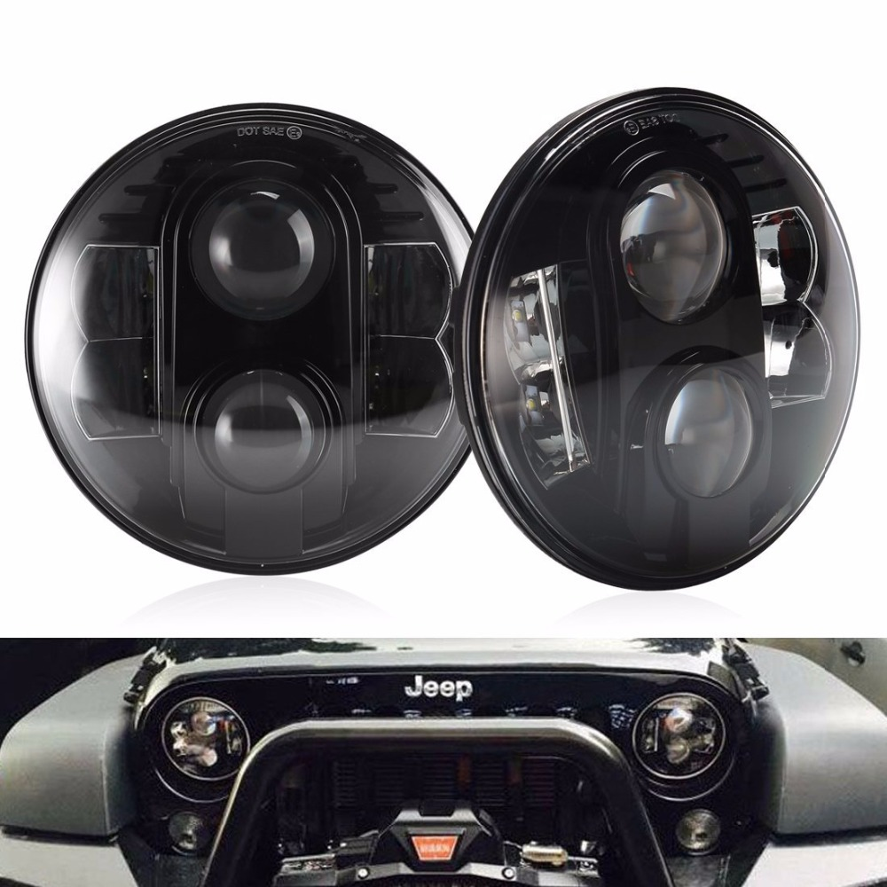 DOT 7 Inch Round 80W Headlight Kit Hi/Low Beam DRL Projection Led Headlamps For Jeep Wrangler Jk TJ Hummer (Pair DOT SAE E9) windshield pillar mount grab handles for jeep wrangler jk and jku unlimited solid mount grab textured steel bar front fits jeep