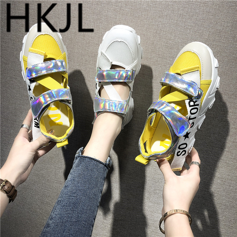 HKJL Sandals female 2019 flat bottom new muffin breathable sports sandals summer shoes Baotou wild A472