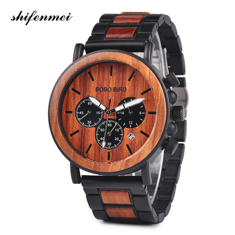 New Fashion Band Wooden Men Watches Relogio Masculino Top Brand Luxury Stylish Watch Wood & Stainless Steel Chronograph Military стоимость