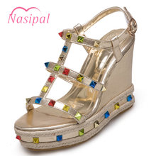 3edfbf2c591d Nasipal Wedges Sandals Fashion Rivets Studded Gladiator Shoes Woman Summer Platform  Sandals Gold Silver Plus Size