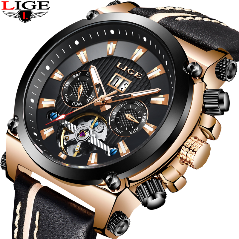 LIGE Mens Watches Top Brand Luxury Military Sport Watches Men Leather Waterproof Automatic Watch Men Watch Relogio Masculino+BoxLIGE Mens Watches Top Brand Luxury Military Sport Watches Men Leather Waterproof Automatic Watch Men Watch Relogio Masculino+Box