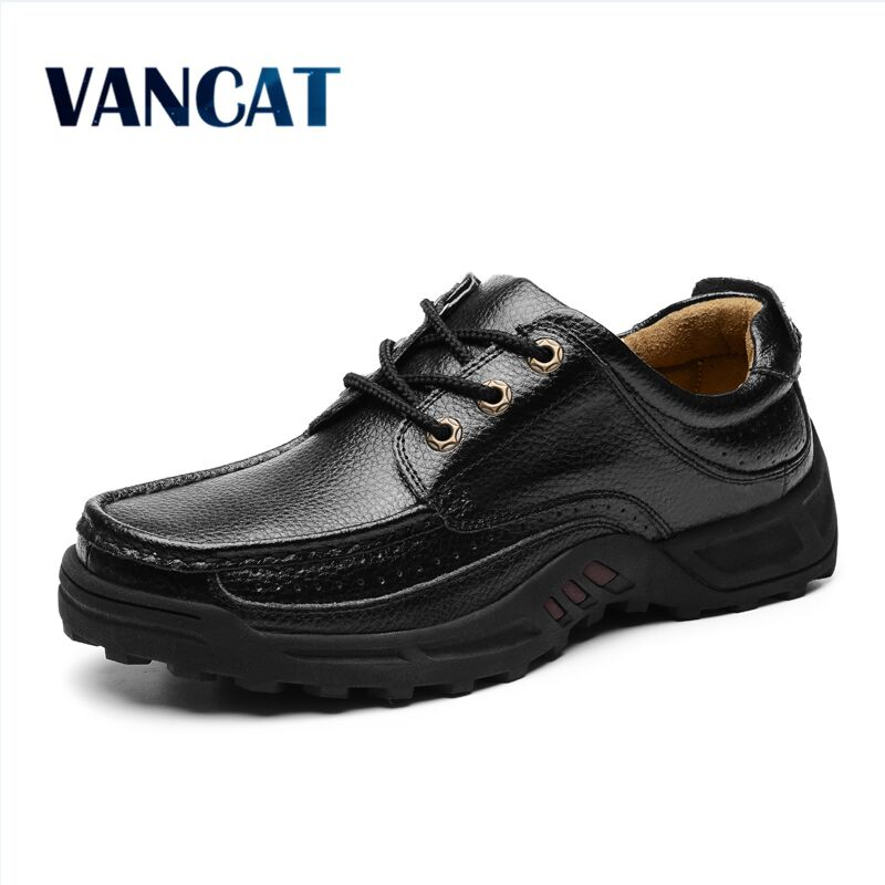 VANCAT Men's Genuine   Leather   Shoes Business Dress Moccasins Flats Slip On New Men's Casual Shoes Dress Mens Business Shoes 38-48
