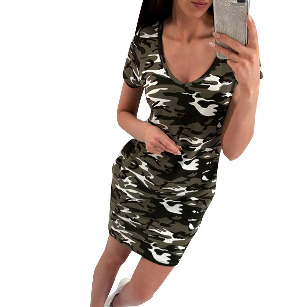 New Arrival 2018 Summer Fashion Women Clothing Casual Short Sleeve V-Neck Camouflage Dresses Sexy Mini Bodycon Dress Vestidos