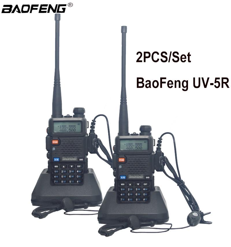 2 pcs 100% New original BaoFeng UV-5R Talkie Walkie Dual Band Two Way Radio Pofung 1800 mah Portable Ham Radio émetteur-récepteur UV5R