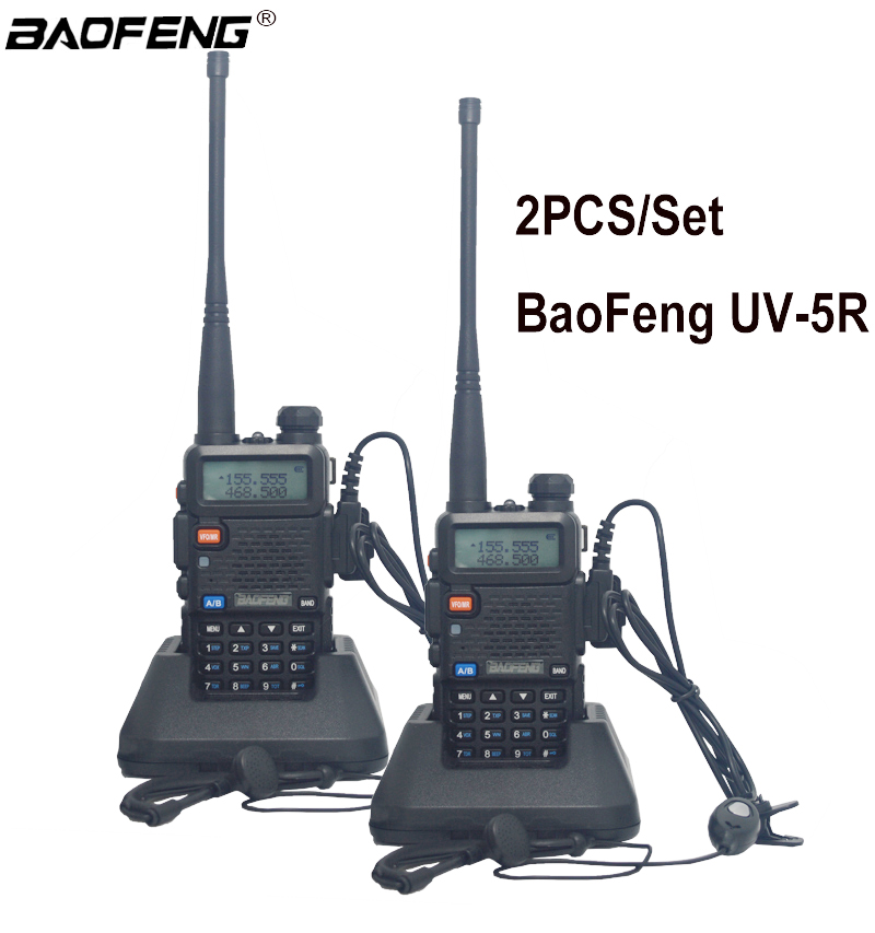 2 stücke 100% Neue original BaoFeng UV-5R Walkie Talkie Dual Band Two Way Radio Pofung 1800 mah Tragbare Ham Radio transceiver UV5R