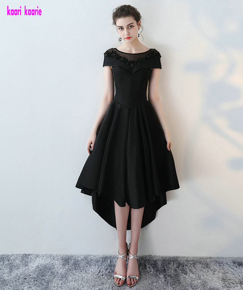 Sexy Black   Prom     dresses   2018   Prom     Dress   Scoop Satin Beading Lace Up Beach Tea-Length Women Formal Evening Party Gown Custom Made
