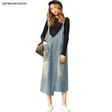 Casual Long Jeans Skirts Women Spring Summer Brief Literary Style V Neck Front Big Pocket Denim Overalls Midi Suspender Skirt