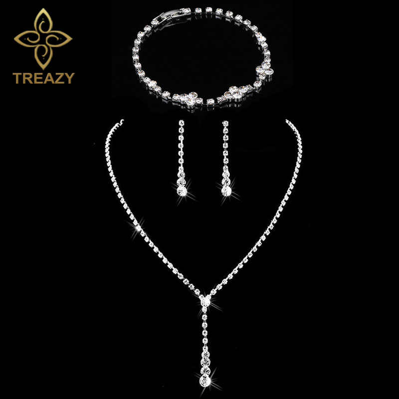 TREAZY Simple Crystal Bridal Jewelry Sets Silver Color Tassel Drop Necklace Earrings Bracelet Set for Women Wedding Jewelry Sets