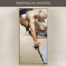 Top Artist Hand-painted High Quality Nude Man Oil Painting on Canvas Strong Nude Man Portrait Oil Painting for Living Room недорого