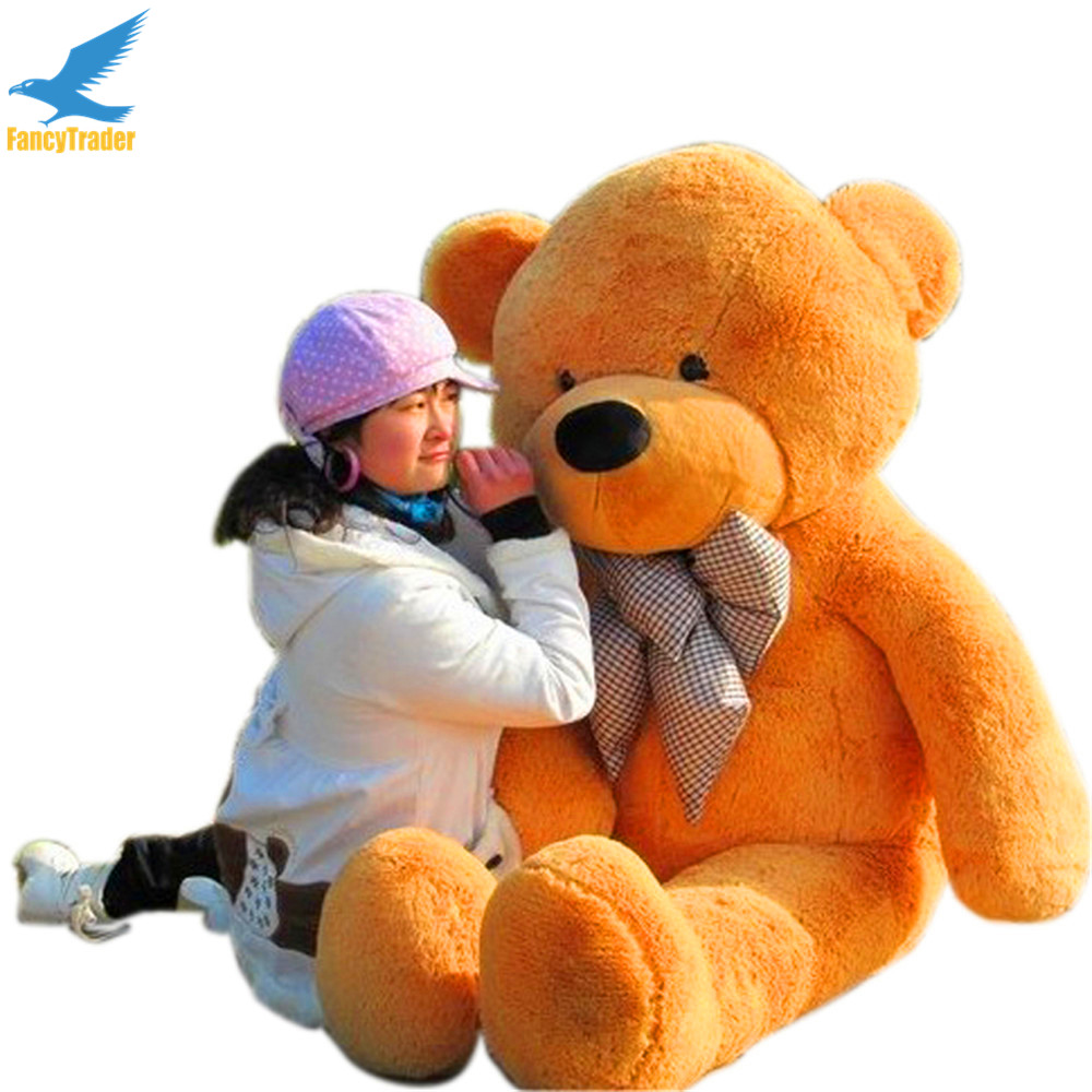 Fancytrader 160cm Light Brown Giant Plush Bear Stuffed Toy 4 Colors 63'' Valentines's Day Gift FT90059 fancytrader new style teddt bear toy 51 130cm big giant stuffed plush cute teddy bear valentine s day gift 4 colors ft90548