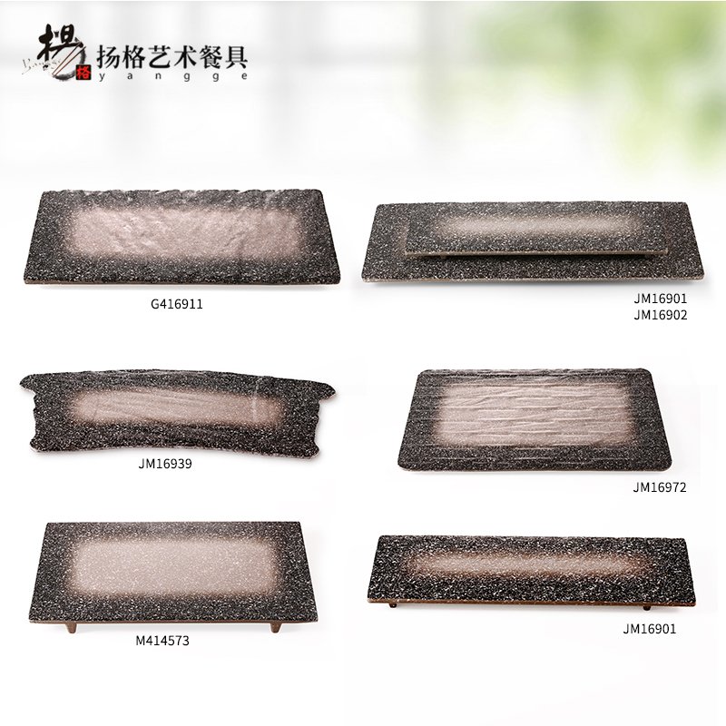Chinese Famous Traditional Plates Dishes Square Home Restaurant Melamine Frost Tableware Plate Fish Sushi Dish Pottery design