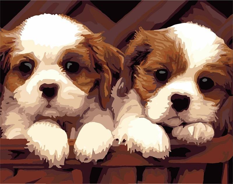 7c9e57c03 رسمت باليد النفط diy الرقمية الطلاء على قماش الأزياء تزيين المنزل الكلاب فن  الصور لطيف أصدقاء اللوحة بواسطة أرقام OP76