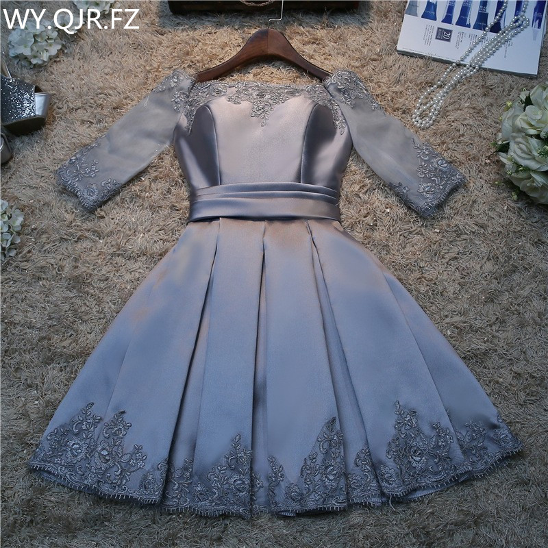 Real photos wholesale fashion prom 2019 spring summer new bride married toast clothing   bridesmaid     dress   short silver gray#HA2