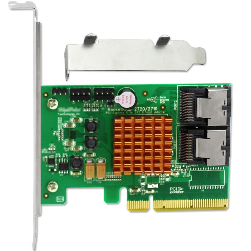 RocketRAID 2720 8-ports SAS/SATA RAID PCI Express Controller Card w/ Low Bracket 375 3536 sas raid with battery array card pci e sas card 100% test good quality